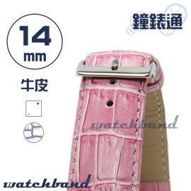 【鐘錶通】C1.31I《亮彩系列》鱷魚格紋-14mm 蜜桃粉┝手錶錶帶/皮帶/牛皮錶帶┥