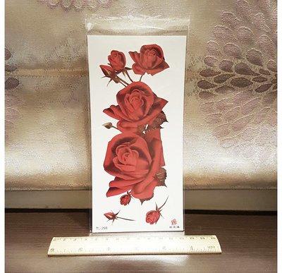 【萌古屋】大紅玫瑰 - 男女防水紋身貼紙刺青貼紙K19