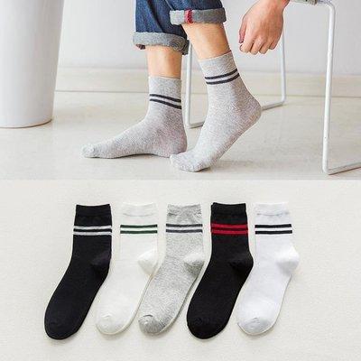襪子男士中筒襪黑白系長襪夏季防臭運動吸汗潮流男襪透氣網格設計
