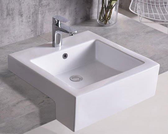 《101衛浴精品》50CM 正方型 抗污陶瓷 半嵌盆 方型盆【全台大都會免運費 可貨到付款】