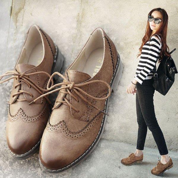 =WHITY=韓國FUPA品牌 韓國製  復古圓頭美腿牛津鞋低跟設計時尚明星必備 軟皮好穿 S6JQ885
