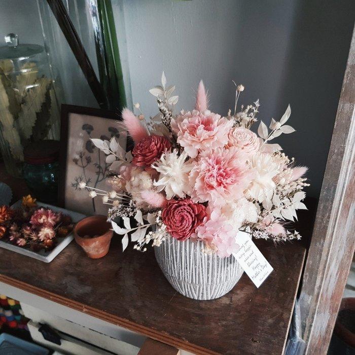 永生花+乾燥花|Love媽咪|母親節粉色康乃馨盆花|全省宅配歡迎自取【Flower&House花藝之家】