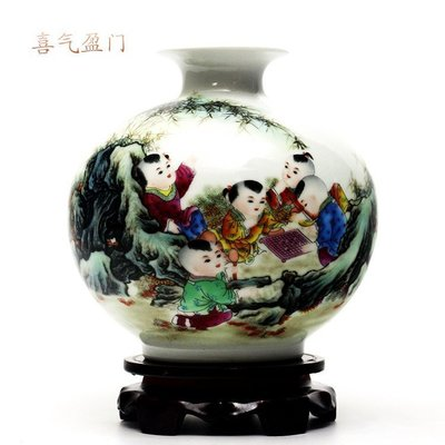 小花瓶景德鎮陶瓷 瓷器擺件 喜氣盈門 開心陶瓷131