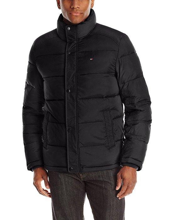 美國百分百【Tommy Hilfiger】外套 TH 夾克 防風 透氣 保暖 立領 中空纖維 黑色 S M號 G036