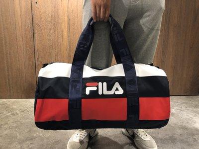美國百分百【全新真品】Fila 旅行袋  圓筒包 運動包 側背包 休閒 兩用包  logo 手提 男 女 J465