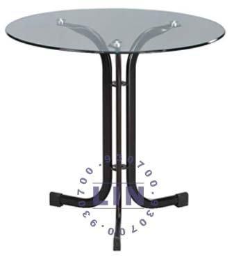 【品特優家具倉儲】367-12餐桌黑砂扁管玻璃圓桌2.5尺