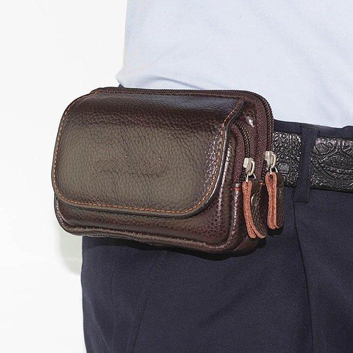 腰包7-11全家正韓國版新款特價雙層手機包男穿皮帶腰包3.5寸4.7寸5寸5.5寸真皮零錢小包橫款19326