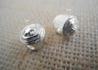 ☆ D.B手創925銀飾批發 ☆ 990純銀 DIY材料 星杯子蛋榚 (大洞) 配件 單顆