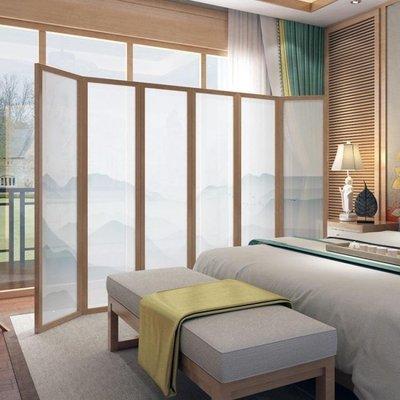 哆啦本鋪 屏風隔斷客廳簡易折屏現代簡約摺疊行動臥室中式實木布藝玄關D655