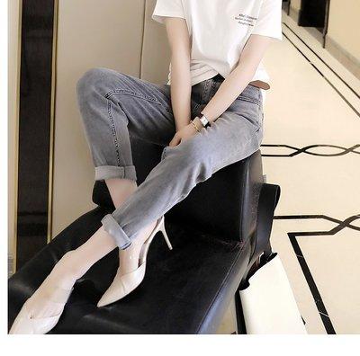 ~貓老大~春日時髦洋氣水洗奶奶灰柔軟水洗錐形牛仔褲9分褲 /4.18