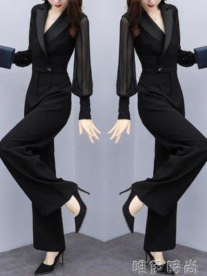 哆啦本鋪 連身褲 雪紡黑色連體褲女褲秋季新款長袖修身顯瘦高腰大碼休閒寬管褲 D655