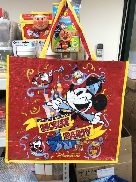 正版 迪士尼樂園限定 米奇城堡歡樂 雙面不同圖案 大購物袋