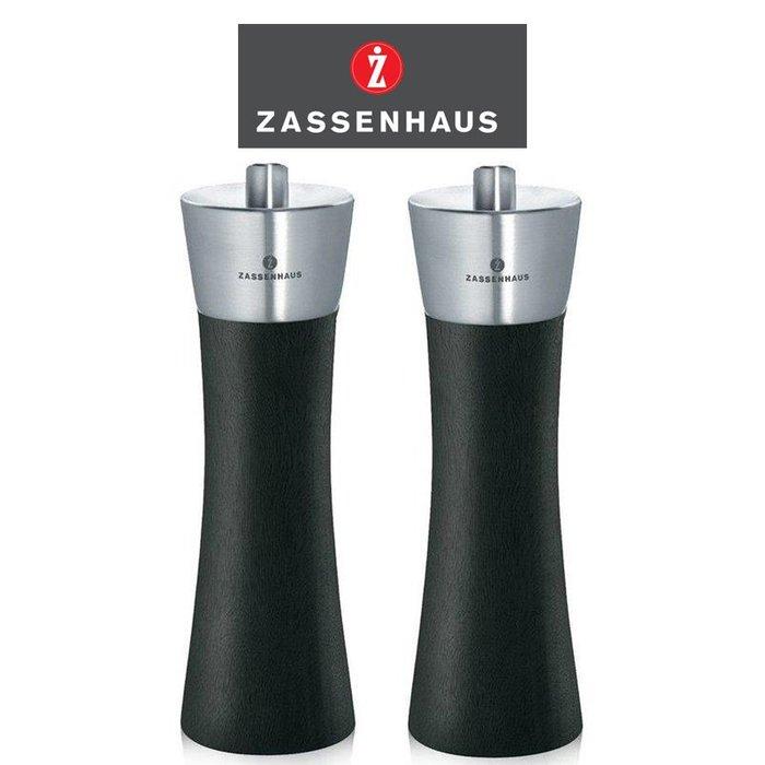 德國 Zassenhaus 六段粗細研磨 18cm 紳士黑 胡椒+鹽 2入研磨罐 山毛櫸原木 香料罐