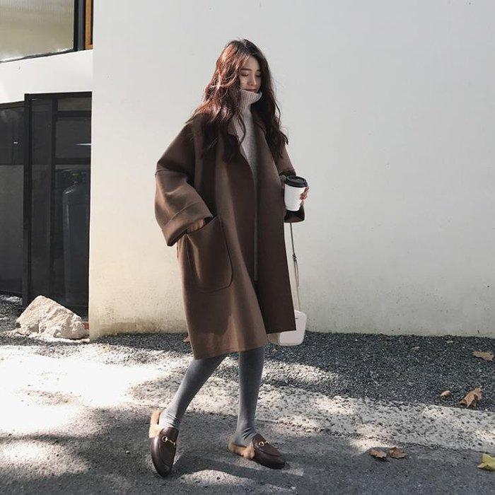 毛呢外套秋冬女中長款廓形斗篷呢子大衣