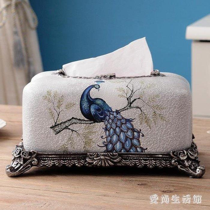 歐式創意紙巾盒美式抽紙盒家用客廳茶幾收納盒桌面樹脂紙抽盒擺件 DN16682