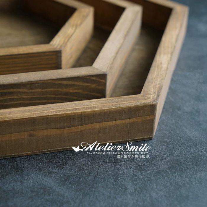[ Atelier Smile ] 鄉村雜貨  森林系 復古婚禮蛋糕盤 六角木製托盤 收納盤 # 中款 (現+預)