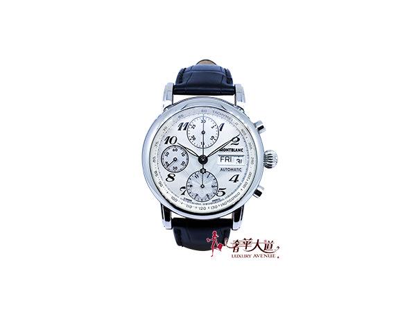 *奢華大道國際精品*【W0531】萬寶龍Meisterstuck STAR系列三眼計時皮帶機械腕錶39MM 7016