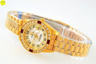 (六四三精品)普洛金(真品)全金手錶白錶面阿拉伯數字時刻外環水鑽及紅色梯鑽