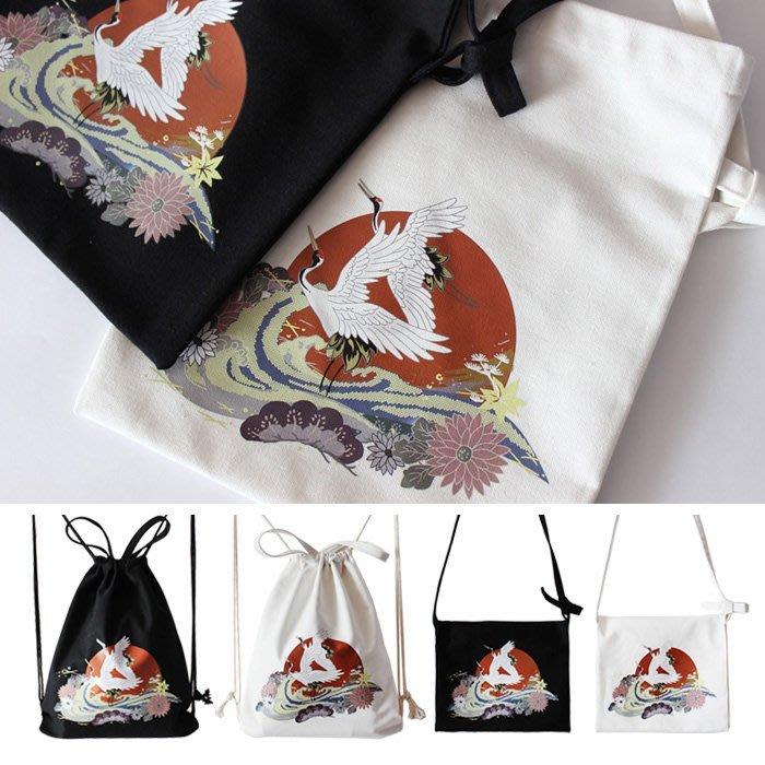SEYES  街頭個性大阪風橫須賀和風浮世繪仙鶴束口包/斜背包