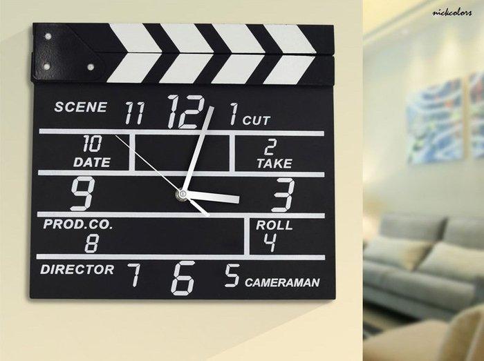 尼克卡樂斯~創意設計師款場記板掛鐘  復古靜音時鐘 餐廳咖啡廳時鐘 客廳臥室掛鐘 工業風掛鐘 鄉村風掛鐘