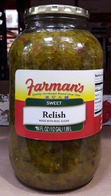 美兒小舖COSTCO好市多代購~FARMAN'S 酸甜黃瓜碎末/酸黃瓜醬(1.89L/罐)熱狗.漢堡最佳良伴