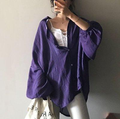早秋上衣女 長袖 秋裝 百搭 韓版早秋寬鬆中長款蝙蝠袖翻領純色薄款襯衫學生防曬空調衫女