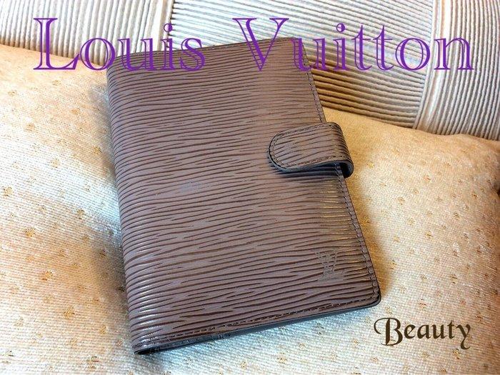 *Beauty*LOUIS VUITTON芋紫灰色水波紋記事本皮夾  CR