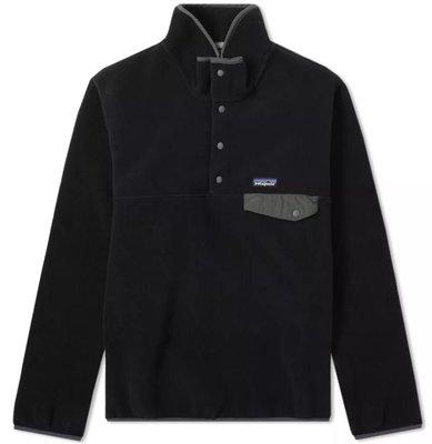 【Shopa】現貨 Patagonia Synchilla 經典 Logo 輕量 絨毛 立領 套衫 外套 衝鋒衣 黑