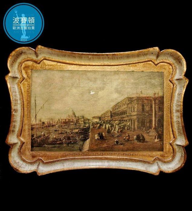 【波賽頓-歐洲古董拍賣】歐洲/西洋古董 意大利古董 20世紀 大型手工鎏金威尼斯景色木雕盤(尺寸:長51x寬36cm)(年份:約1940年)