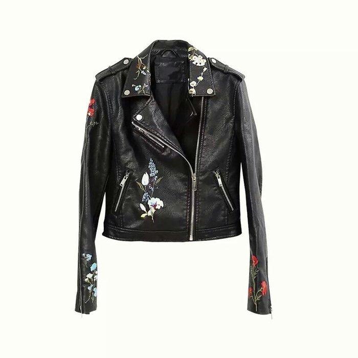【歐美刺繡實拍】😍刺繡皮衣/夾克/短外套,性感+帥氣🌟【五色XS~XL】🌟
