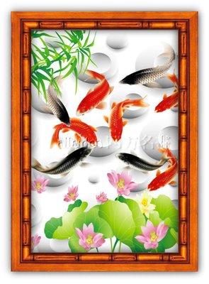 四方名畫:48X65CM富貴有魚045 九如圖 升級實木框  名家複製  質色彩細緻 裝飾畫MIT