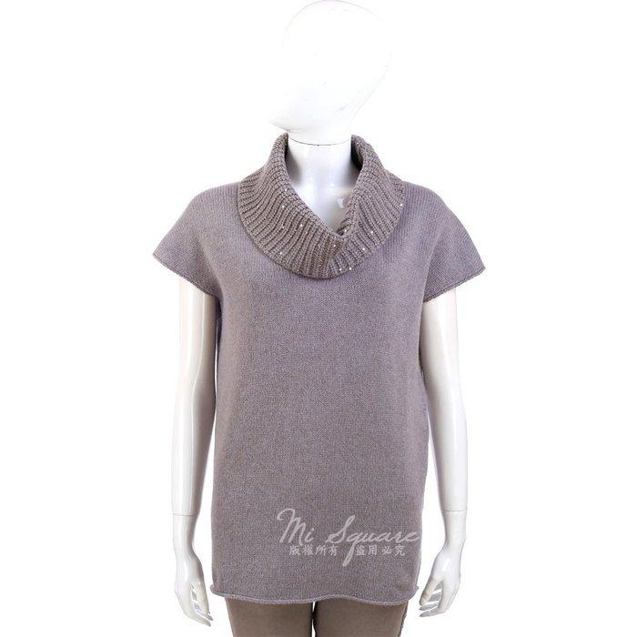 米蘭廣場 FABIANA FILIPPI 可可灰色鬆高領針織短袖毛衣 1340328-07