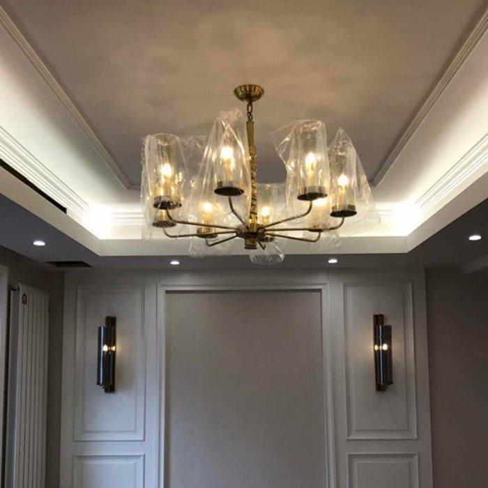 後現代奢華玻璃全銅吊燈客廳餐廳大堂酒店樣板間設計師吊燈【6-535源家精品】