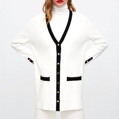 Zara chanel black striped white knit cardigan blouse top 超靚外國優雅小香風中長身厚針織保暖外套褸 襯衫