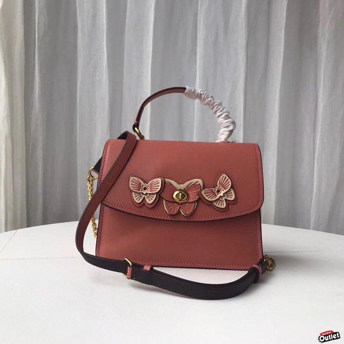 【全球購.COM】COACH 69606 2019款 蝴蝶立體花朵旋鎖紐扣方包 斜背包 美國代購