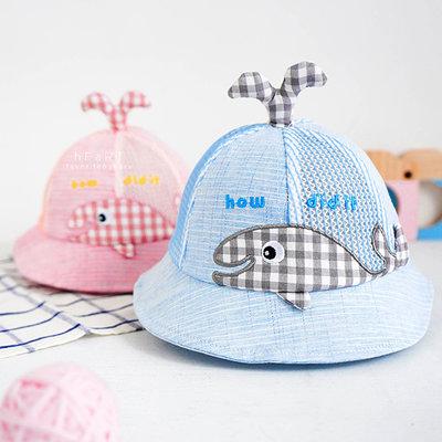 【媽媽倉庫】 格子鯨魚透氣網布立體造型漁夫帽 童帽
