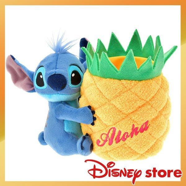 史迪奇 15週年 鳳梨 絨毛 造型筆筒 Disney store 專賣商品 日本帶回 小日尼三 有優惠現貨免運費不必等