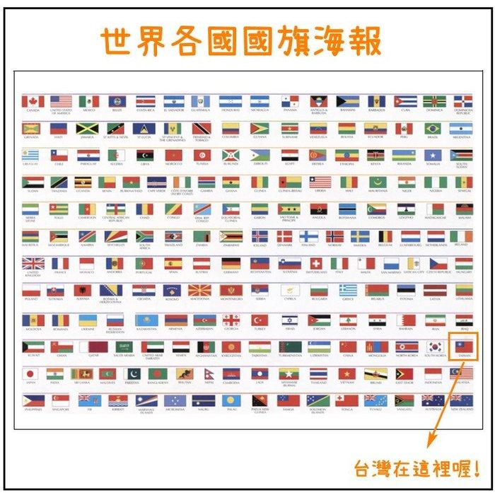 世界國家國旗地圖 世界國家英文版居家辦公室書房地圖掛圖掛畫(50CM*75CM)_☆優購好SoGood☆