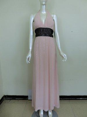 【女神殿】二手 晚禮服 氣質Pink 粉色黑色亮片腰封 雪紡 女神 聖女 特價低於1折