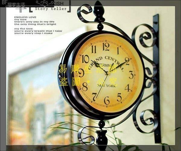 [王哥廠家直销]雙面鐘 臥室鐘 雙面掛鐘 拍攝道具 時鐘 造型 室內設計 裝潢 歐式 美式 掛鐘 靜音 民宿店面佈置 入厝