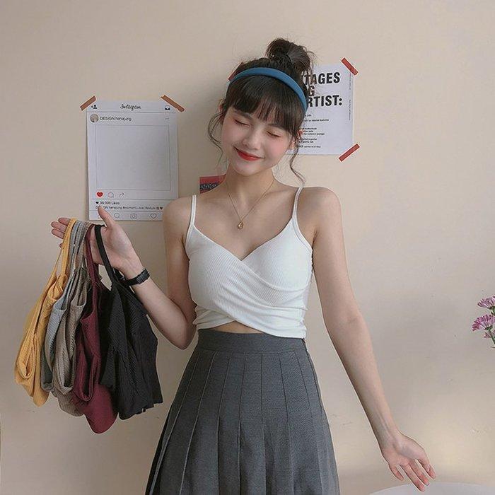 韓版 平口T恤 一字肩 性感交叉彈力修身顯瘦短款抹胸小吊帶背心女學生