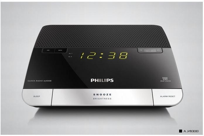 飛利浦 PHILIPS AJ4000 收音機FM 時鐘 雙鬧鐘 時尚造型 床頭音響 鬧鈴 可2USB手機充電,全新