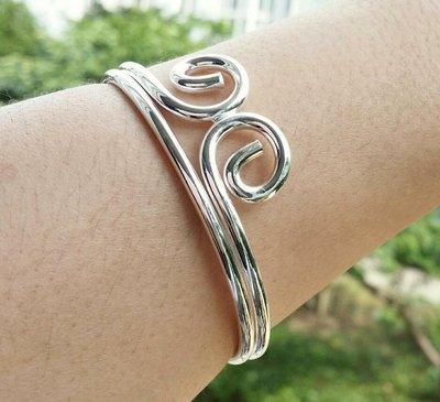嗨,寶貝銀飾珠寶* 925純銀☆999足銀 時尚 雙圈緊箍 (愛妳五百年)實心純銀開口手環 手鐲