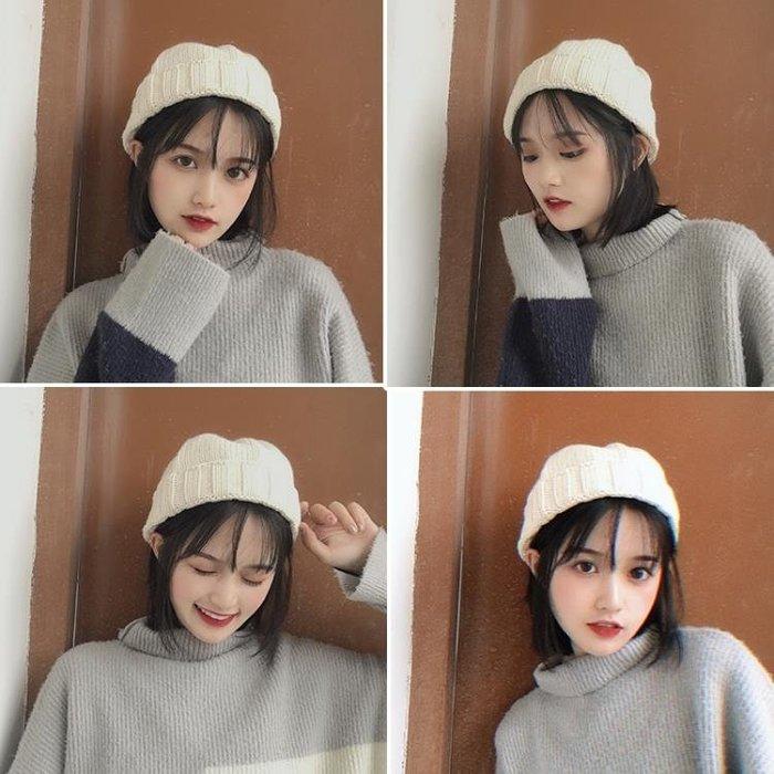 毛線帽子女潮韓國秋冬天保暖黑色針織套頭帽日系百搭休閑瓜皮帽男