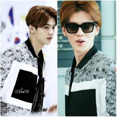EXO  鹿唅 Luhan  同款黑領拼接特殊潮款夾克 襯衫