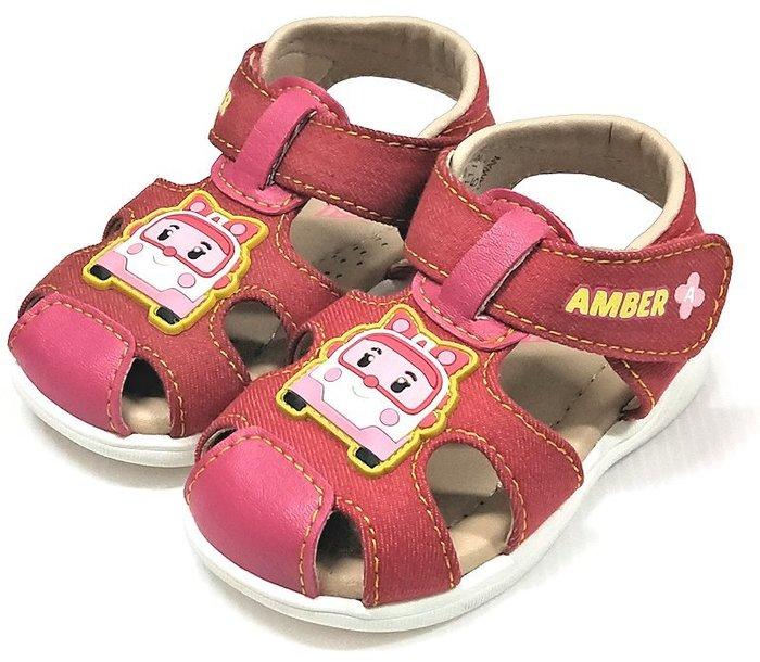 【菲瑪】寶寶護趾涼鞋 帆布質感 軟Q止滑 安寶粉紅POKT81112