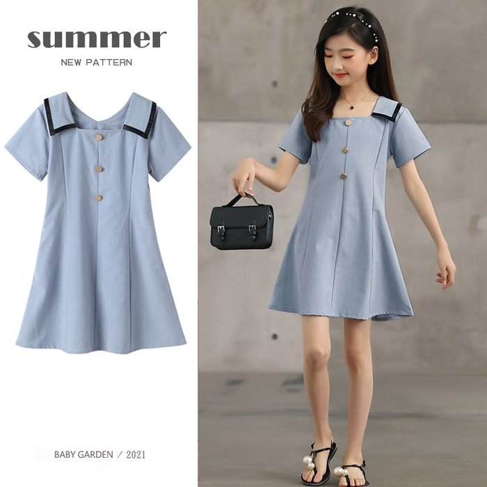 【TF5664】✿寶貝花園✿ 2021夏季新品 女童 中大童 娃娃領 公主裙 連衣裙 洋裝 親子款