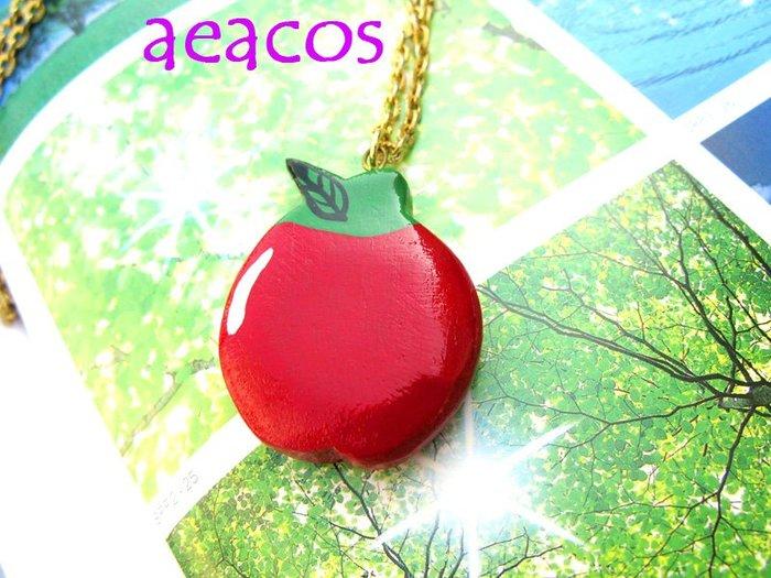 AEACOS@古董 古著 vintage retro MODs 可愛木頭材質紅蘋果項鍊