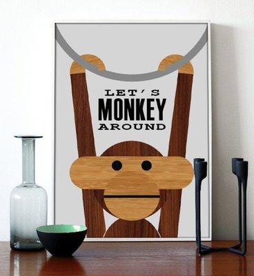 C - R - A - Z - Y - T - O - W - N 創意猴子動物掛畫 文創藝術掛畫 設計玄關客廳裝飾掛畫