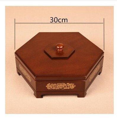 【30cm木蓋胡桃木色印花】乾果盒糖果盒家用分格帶蓋客廳CRD